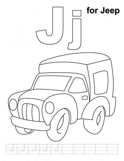 j for jeep coloring page