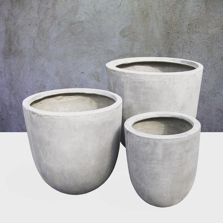 """Vintage Cement Finishing on our Bullet Pots #gfrc #cement #lightweightconcrete #planters #garden"" #gdrasia"