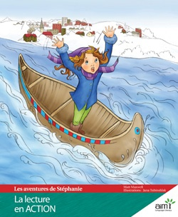 L'aventure de Stephanie  Story: Matt Maxwell  Illustrations: Jana Tublinshlak  Appropriate for ages: 7-12    Stéphanie is an 11-year-old girl who lives in small town in northern Quebec.  During the Festival du Voyageur, Stéphanie becomes bored with the cultural activities – the singing and dancing, the costumes, the sugaring off – and wanders to the riverside, where she gets in one of the voyageurs' canoes. She caught in the rapids; only the heroic actions of a young villager save the day.