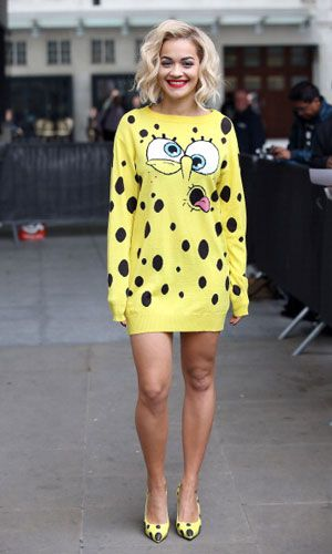 Rita Ora rocks an ah-mazing Spongebob-inspired outfit! http://www.seventeen.com/entertainment/reviews/rita-ora-new-single?click=SVN_NEW
