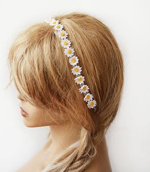 Wedding hair Accessories, Wedding Crochet Daisy Flower Headband