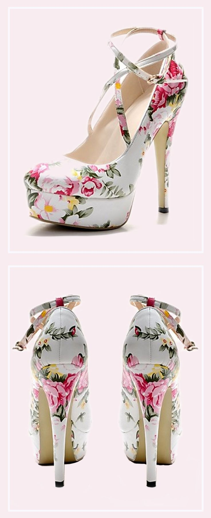 Floral heels are perfect for spring.