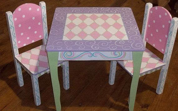 Wooden Table and Chair Set Pink Lavender Green Kids Furniture