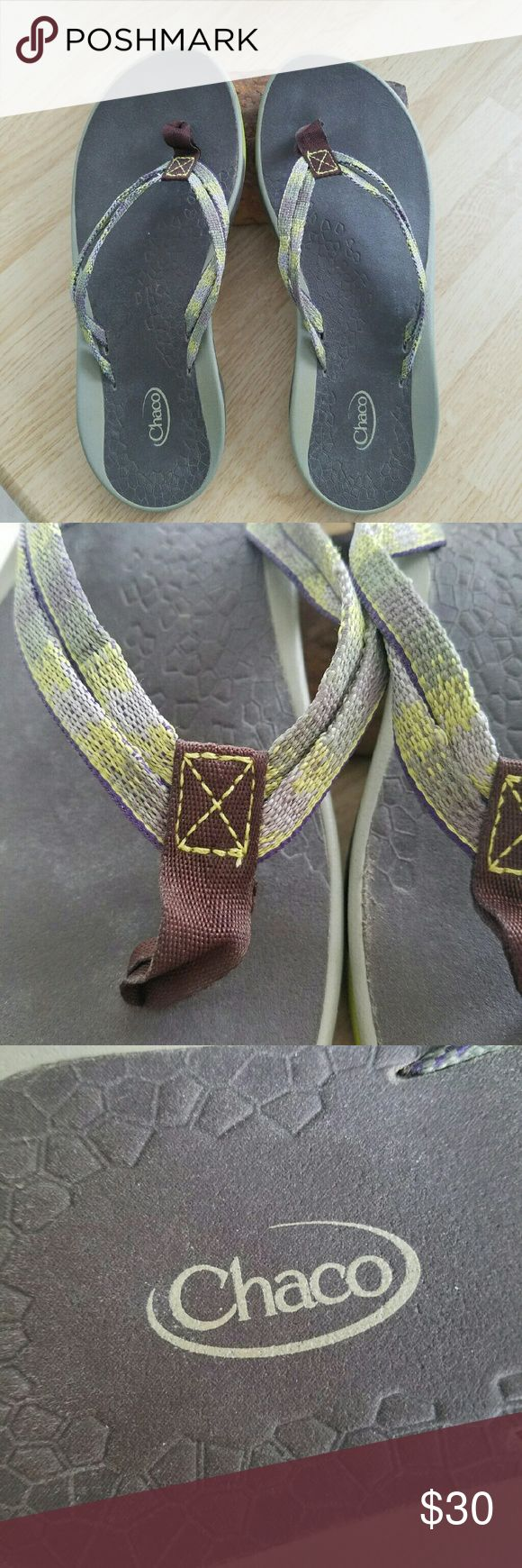 Chaco Sandals Double strap thong sandals. Not often worn. Fits best for narrow foot. Green, grey, purple, brown colors - mostly green though Chaco Shoes Sandals