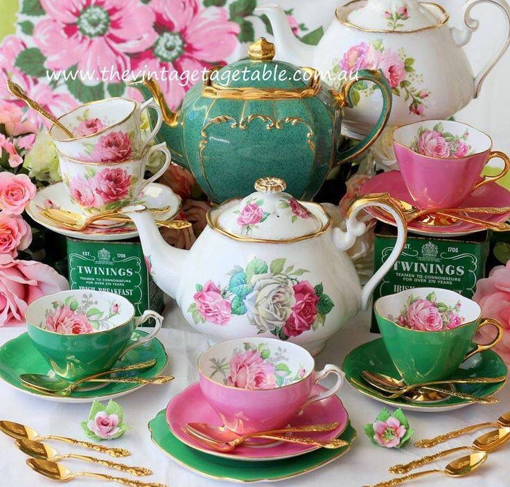 Tea Time- Beautiful Green and Pink China