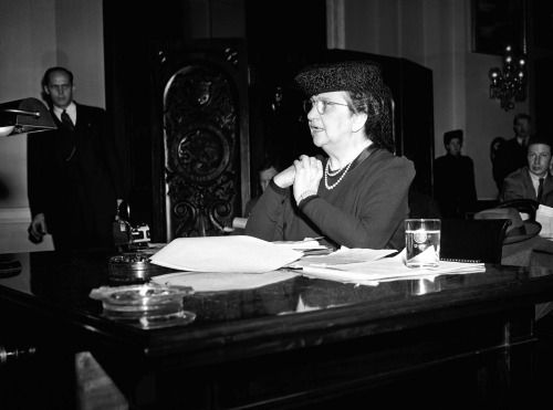Frances Perkins, first woman appointed to a Cabinet position as Secretary of Labor, 1933-1945.Appointed by Franklin D. Roosevelt
