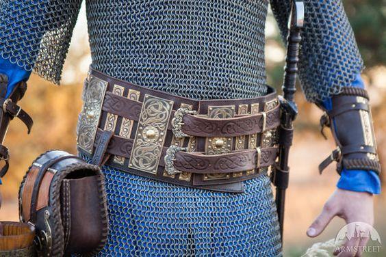 Medieval War Belt Viking Belt Men's Leather Belt Wide by armstreet: