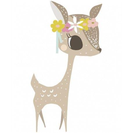 Lilipinso vous présente son magnifique sticker décoratif Faon taille XL, une décoration de chambre d'enfant romantique et raffinée.
