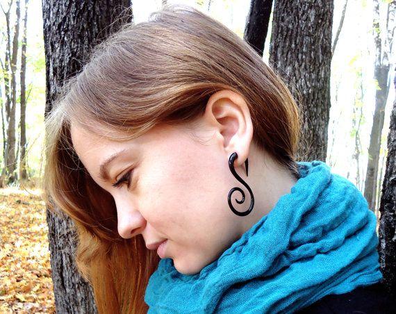 Fake Gauge Earrings Buffalo Horn Swan Spirals Tribal Earrings - Gauges Plugs Bone Horn -FG010 H. $20.00, via Etsy.
