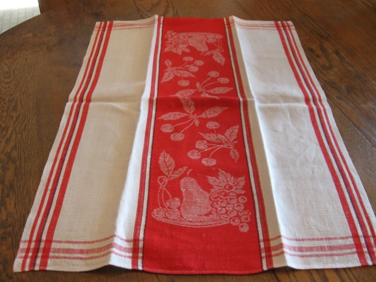 Pineapple House Antiques ~ Vintage Red U0026 White Assorted Fruit Kitchen Towel