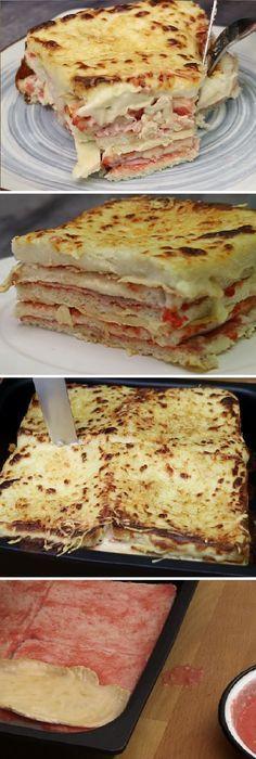 """Ay no puede ser!!!!! Tiene una pinta tremenda!!!! este PASTEL DE POLLO Y JAMÓN """"Con pan de molde"""" #pollo #jamon #pandemolde #pan #panfrances #pantone #panes #pantone #pan #receta #recipe #casero #torta #tartas #pastel #nestlecocina #bizcocho #bizcochuelo #tasty #cocina #chocolate #tomate #tomatoes Echamos 40 g de mantequilla, dejamos que se derrita totalmente y agregamos 40 g de harina de trigo. Mezclamos con a..."""