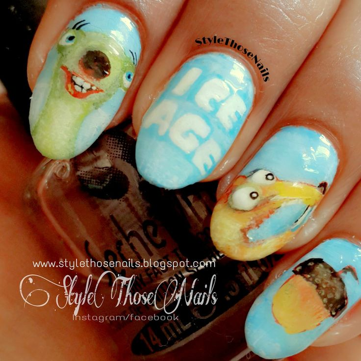 Style Those Nails: Ice Age Movie Inspired Nails - InspiratioNAILjune Challenge #inspiredbymovienails #movieinspirednails #iceage #iceagenails