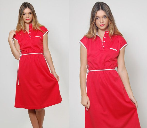 Vintage 80s RED Jersey Dress Short Sleeve BELTED Day Dress by LotusvintageNY #80s #70s #daydress #belteddress #red #vintage #nautical #summerdress #retro