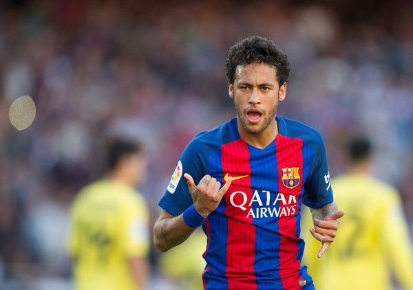 Neymar of FC Barcelona celebrates after scoring his team's opening goal during of the La Liga match between FC Barcelona and Villarreal CF at Camp Nou stadium on May 6, 2017 in Barcelona, Catalonia.