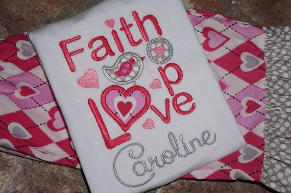 Valentines Faith Hope and Love Shirt by WiggleWormsBoutique