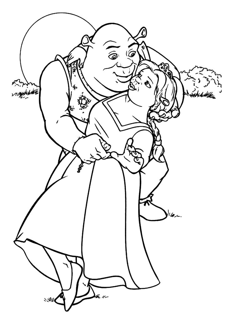 shrek and fiona coloring pages for kids printable free