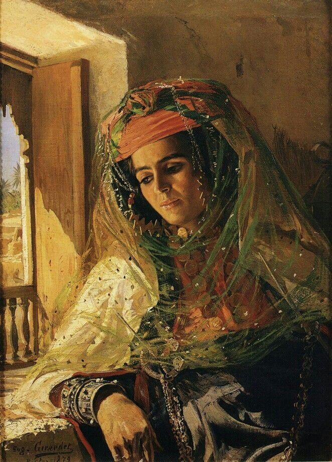 Algérie - Peintre Français Eugène Girardet (1853-1907), huile sur toile , Titre : Dame regardant d' une fenêtre à Biskra