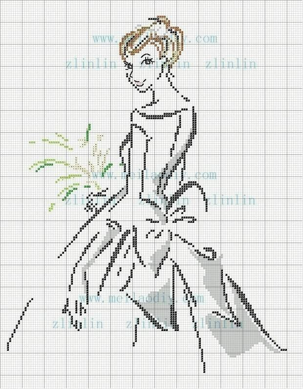 point de croix mariée - cross-stitch bride