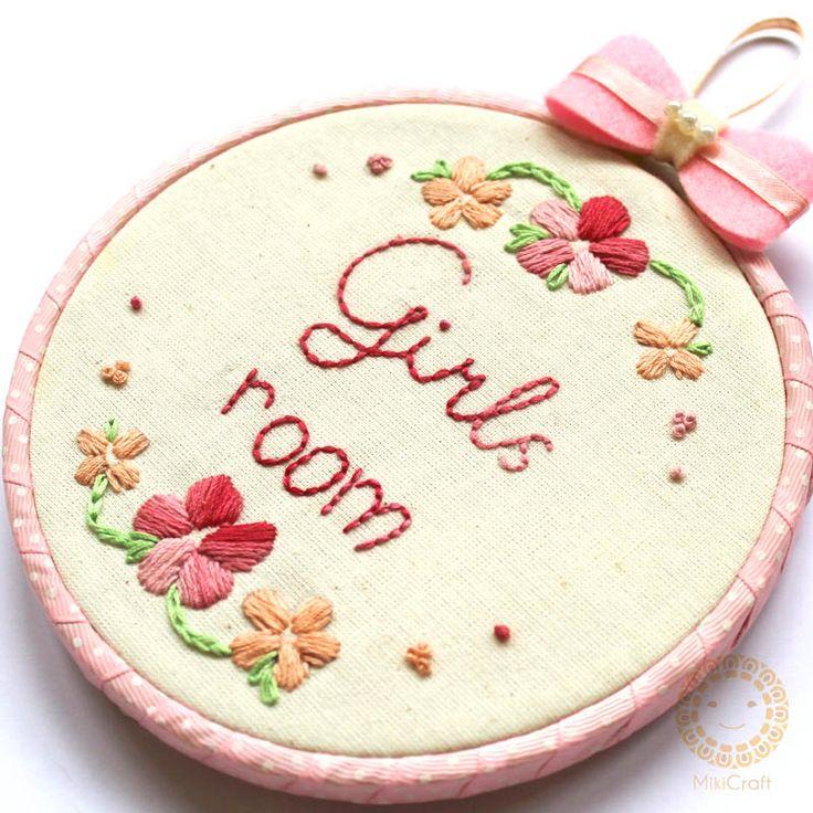 Handmade embroidery hoop art 14 cm.