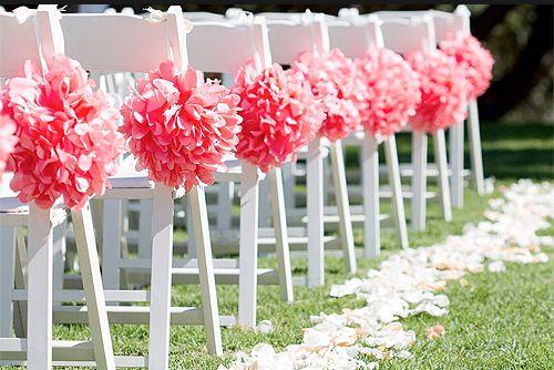 coral wedding coral aisle decorations pom poms tissue paper pom poms hot colors for 2014. Black Bedroom Furniture Sets. Home Design Ideas