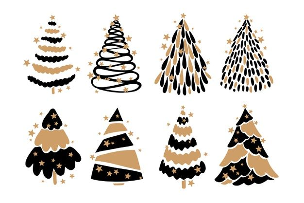 Download Hand Drawn Christmas Tree Collection For Free Christmas Decorations Drawings Vector Free Mickey Mouse Wallpaper