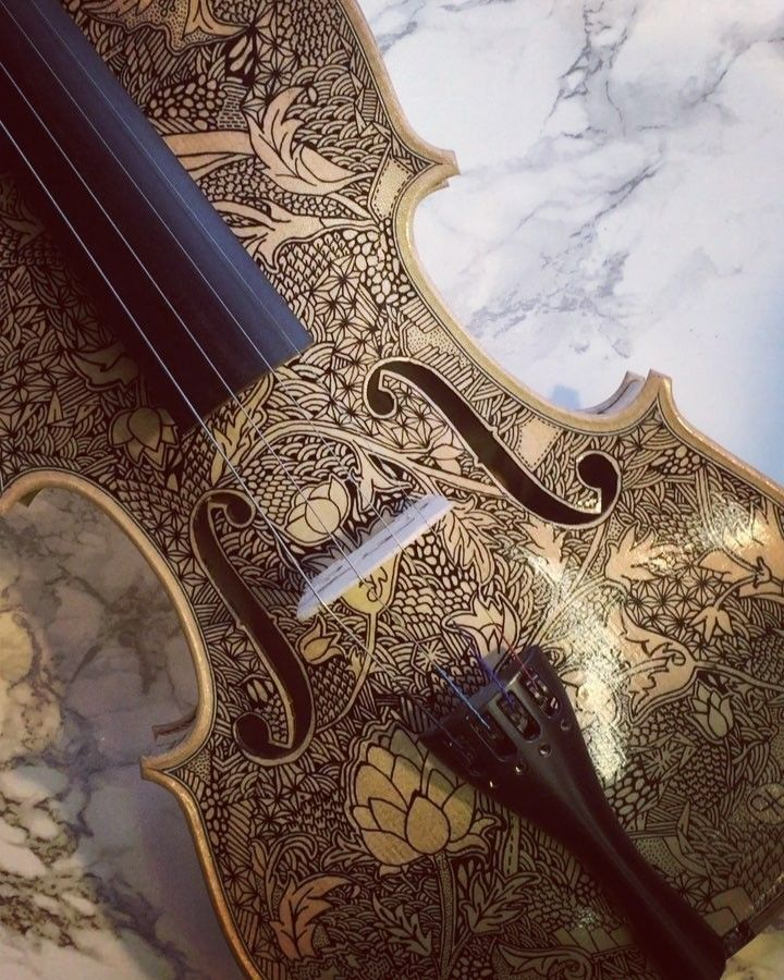 "977 Likes, 24 Comments - Leonardo Frigo Music Painter (@leonardo_frigo_) on Instagram: ""This Violin is ready to be exposed  It is inspired by William Morris patterns   #musically…"""