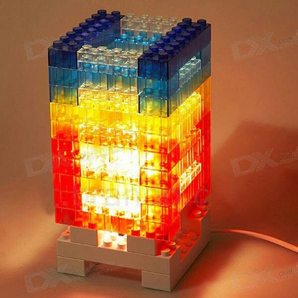 LEGO table lights - my son would LOVE this !!