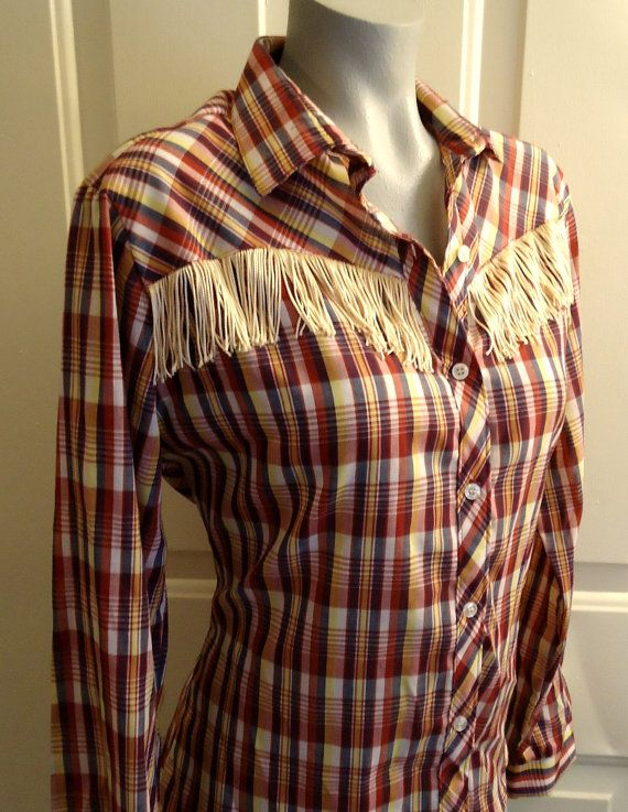 Awesome Vintage Western Tassel Plaid Cowgirl Shirt Yeehaw