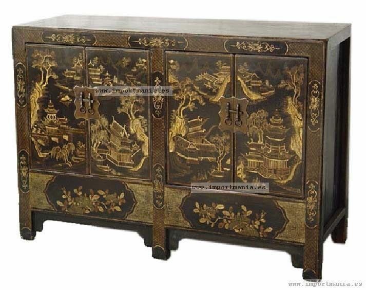 Aparador oriental decorado negro dorado - Muebles chinos - muebles ...