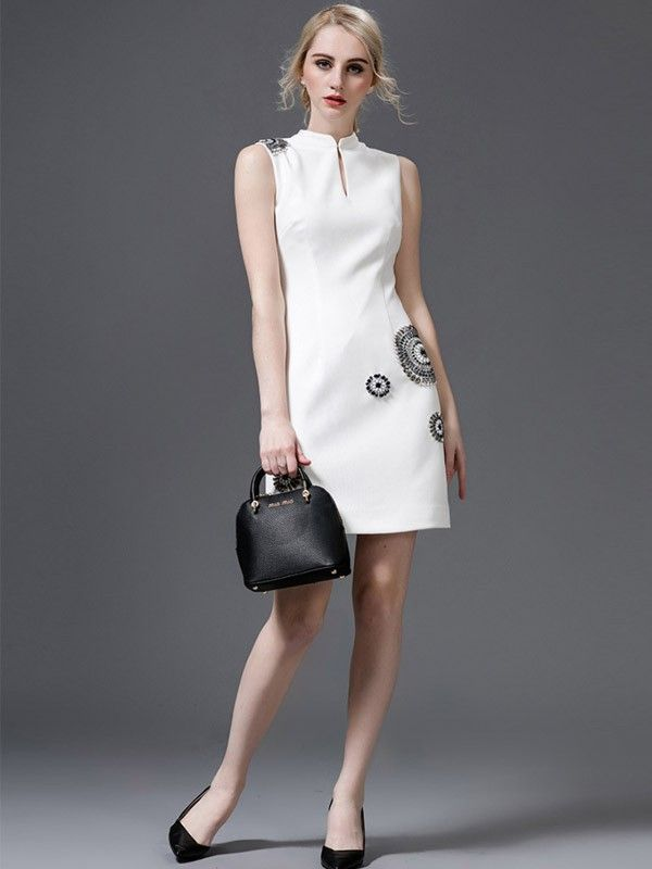 White Beaded Qipao / Cheongsam Dress - CozyLadyWear