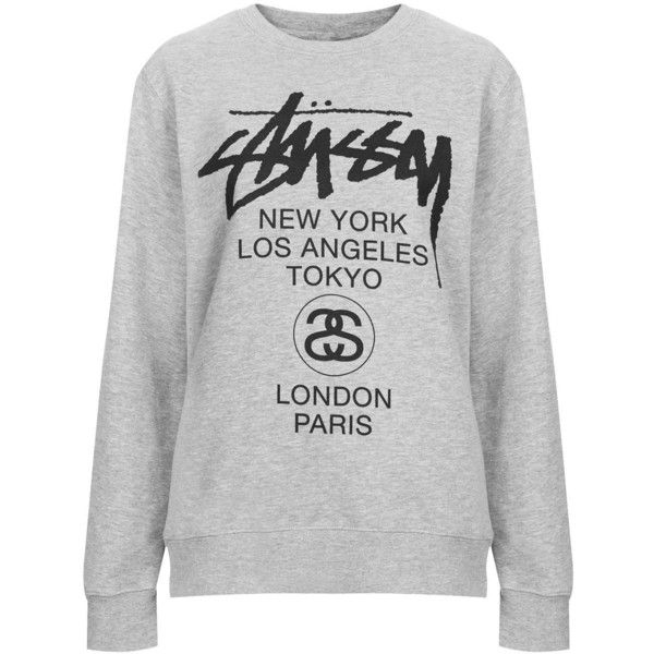 World Tour Sweat by Stussy (58 CAD) ❤ liked on Polyvore featuring tops, hoodies, sweatshirts, sweaters, jumpers, stussy, grey marl, stussy top, gray top and gray sweatshirt