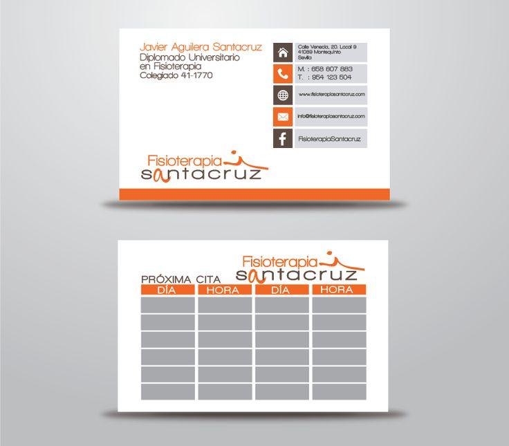 Tarjetas Fisioterapia Santacruz  Diseño de las tarjetas de visita para la clínica de Fisioterapia Santacruz, adaptadas a sus necesidades, la inclusión de un apartado de citas.  Visita: http://homemademk.com