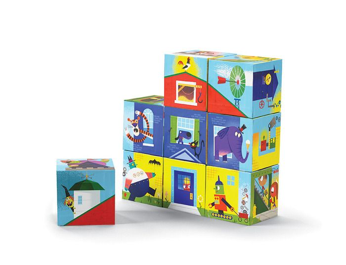 Creative, imaginative play! Beautifully-illustrated block set. Its a puzzle! Its a creativity toy! Hours of creative play. 6 basic buildings 10,077,696 different possibilities. Includes 9 heavy-duty cardboard blocks. For ages 3+ Blocks are 2.4 square. Box is 10.25W x 8H x 2.75D. #blocks #build #buildings #buildahouse #house #crocodilecreek