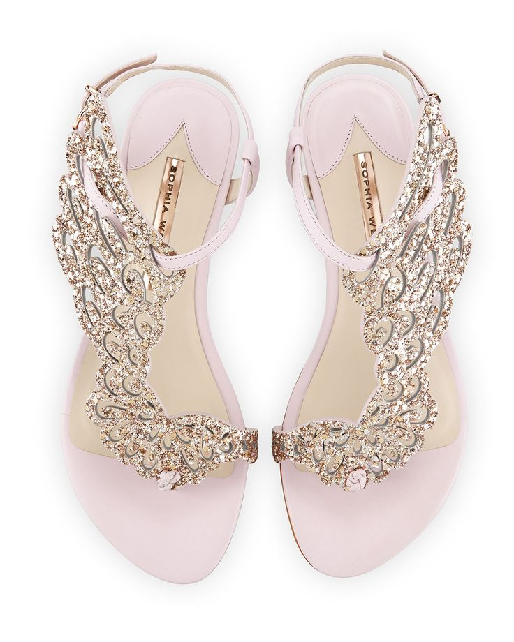 Seraphina Angel-Wing Flat Sandal, Pink Glitter by Sophia Webster at Neiman Marcus.