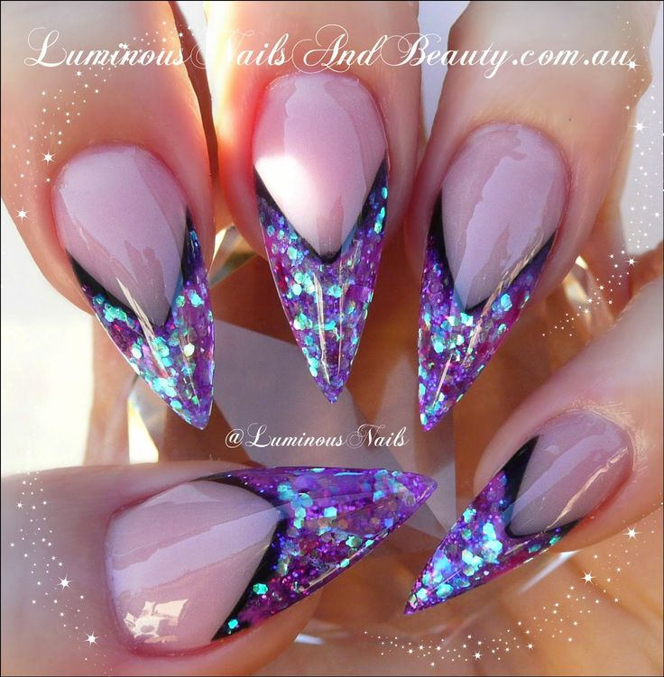 Luminous Nails: Stiletto Edge Nails! Purple+black