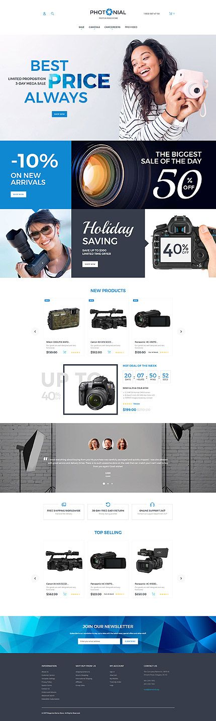 Electronics website inspirations at your coffee break? Browse for more Magento #templates! // Regular price: $179 // Sources available: .PSD, .XML, .PHTML, .CSS #Electronics #Magento