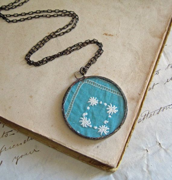 Create a glass necklace from a vintage hanky and keep it safe. #hankies #handkerchief