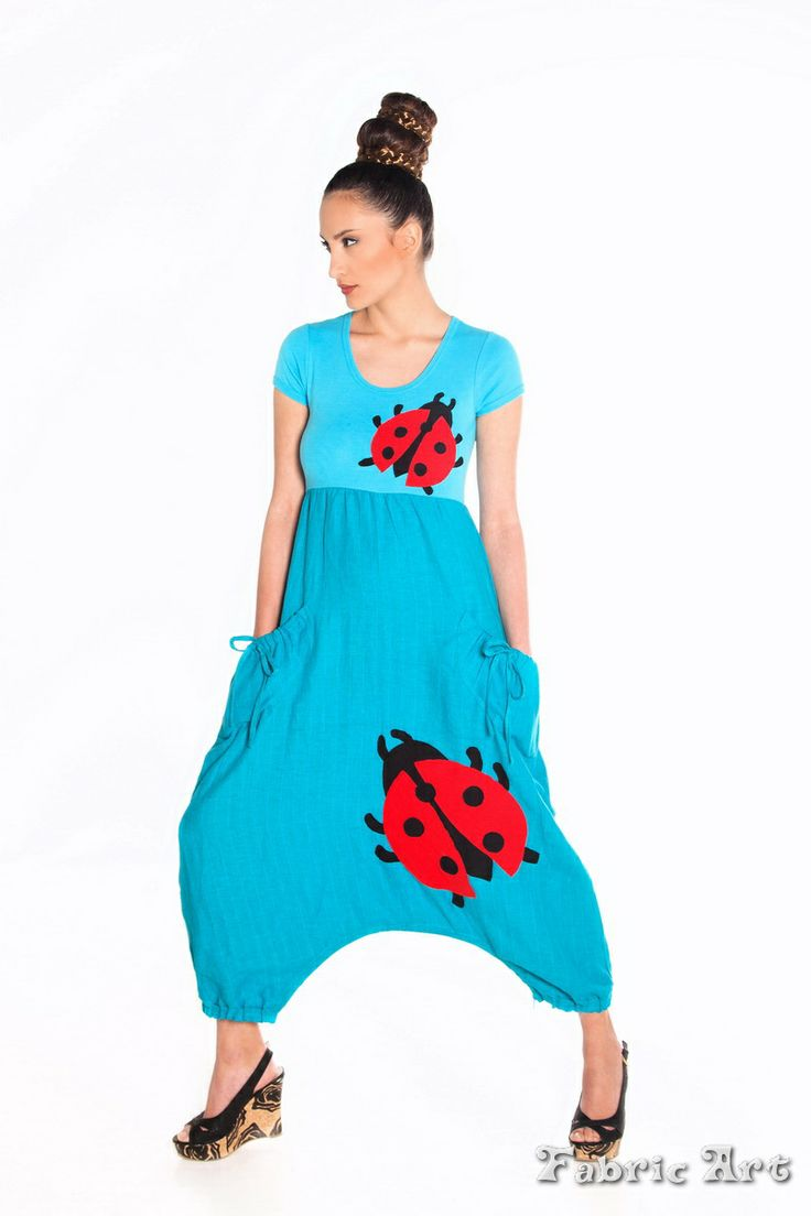 """Short sleeve linen jumpsuit with pockets and handmade applique """"Ladybugs"""""""