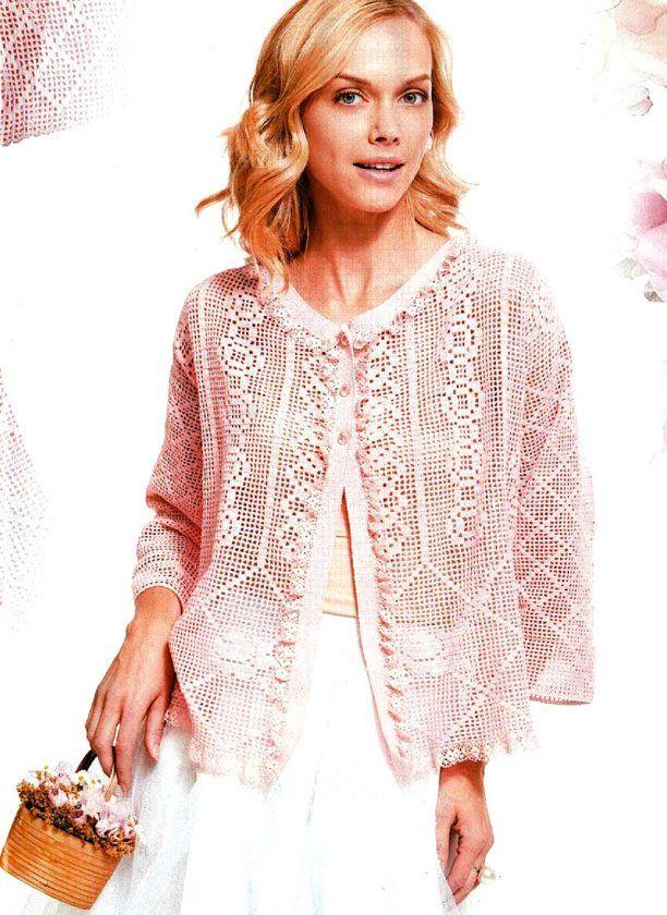 Жакет с филейным узором. Красивый элегантный жакет вяжется крючком в технике филе, романтичный образ модели придает нежный розовый цвет пряжи и отделка кружевной лентой по краям жакета.