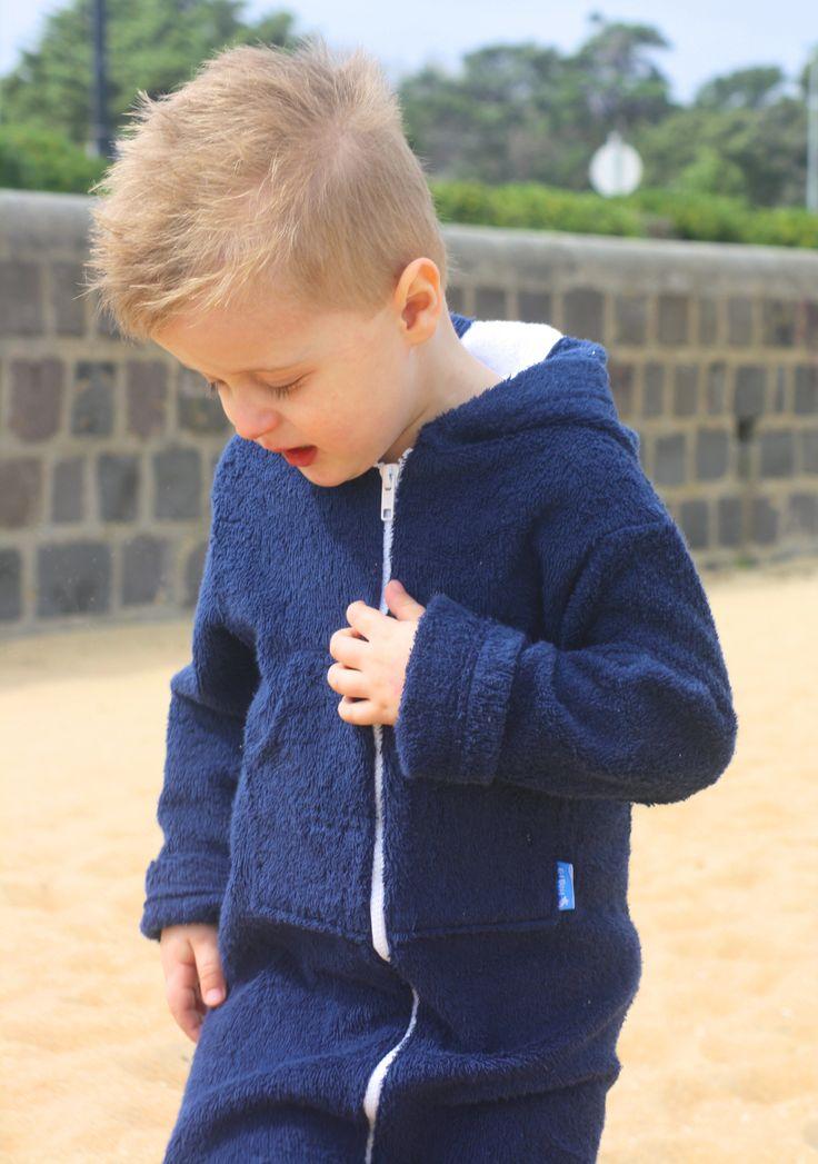 Boys Navy Cotton Towelling Hooded Swim Robe-Find it on www.ejkids.com.au /EJ Boy/Beachwear