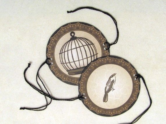 Bird in Cage Victorian Toy Thaumatrope by FiveAndNineteen on Etsy