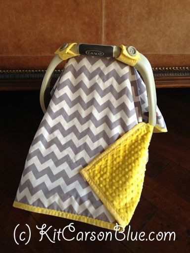 Super Cute Baby Car Seat Covers - CHEVRON in Grey and white and Canary Yellow Minky. $49.50, via Etsy.