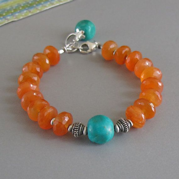 Carnelian Turquoise Gemstone Sterling Silver Bead Bracelet via Etsy