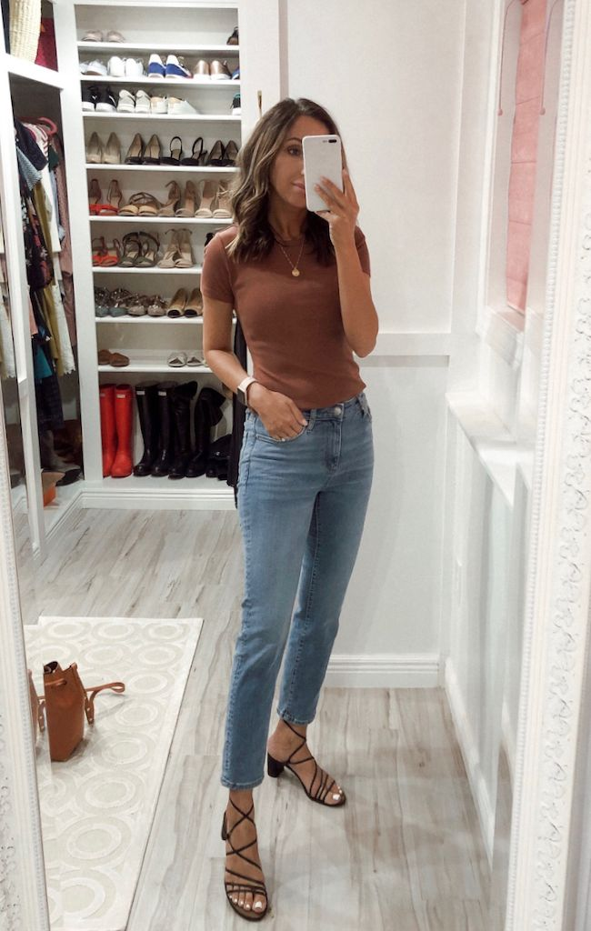 White Short Sleeve Blouse Blush Belted Ankle Pants Metallic Mules