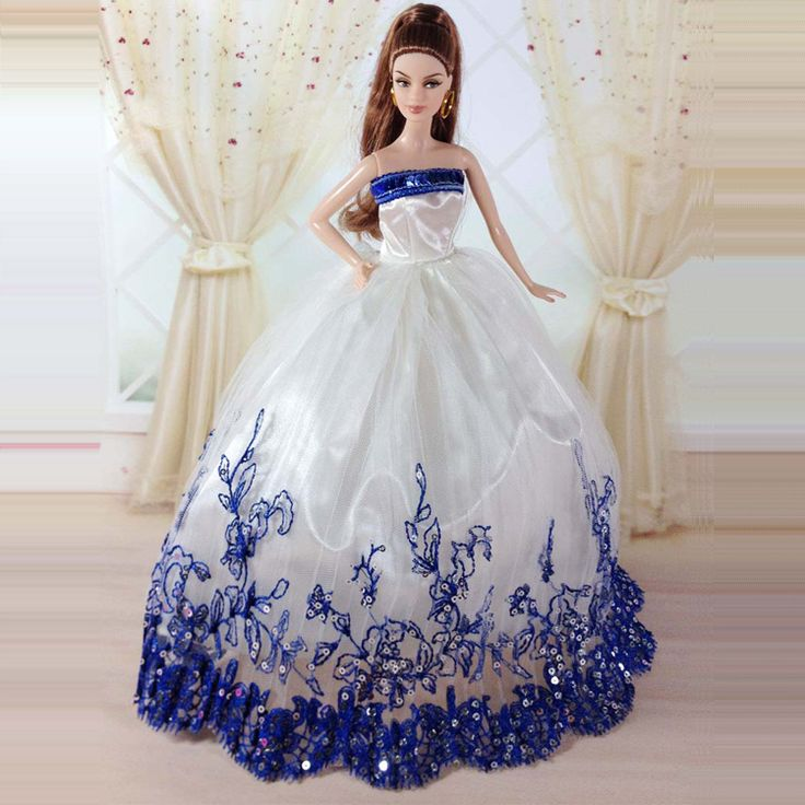 wedding party dress clothes gown for barbie doll snow white dolls
