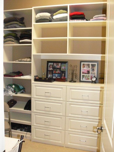 Almond Melamine, Drawers With Raised Panel Faces. Adding Drawers To Your  Closet Help To