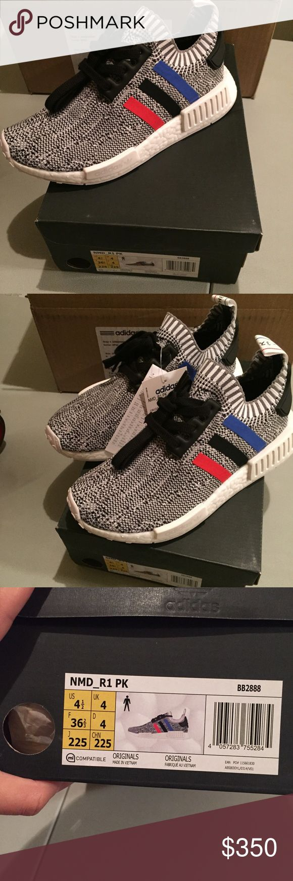 Adidas  NMD_R1 Primeknit Tri-color Adidas NMD Tri - Color, these are authentic men's size 41/2. NMD run big. I'm a size 6 1/2 and they fit great. Never worn brand new with original box and receipt. Will sell on PP for less. Please use offer button. Adidas Shoes Sneakers