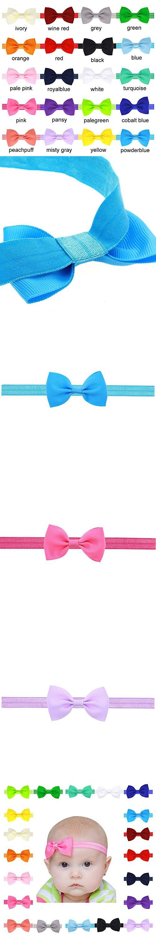 Enjoymart 20Pack Supper Lovely Baby Hair Bands Different Colors Bow Headband Wrap (Pack of 20)