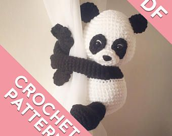 Panda curtain tie back tieback crochet pattern PDF instant