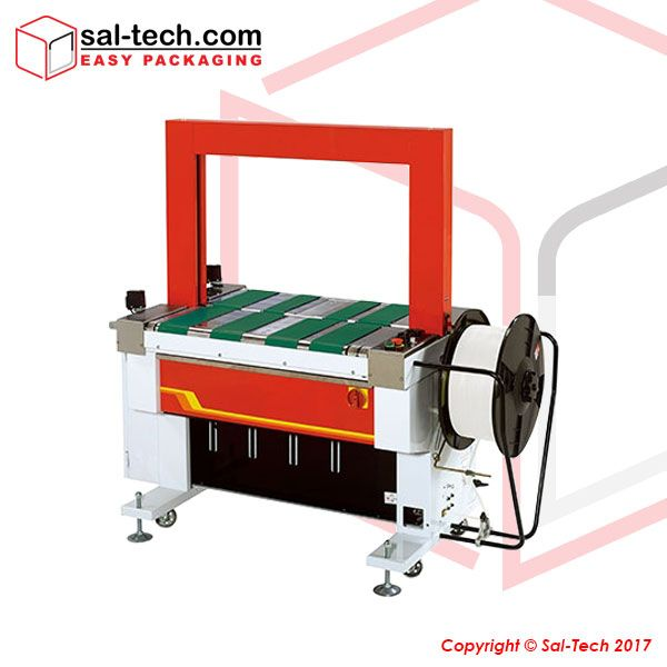 STEP TP-601B is a fully automatic strapping machine with belt-driven table and compression press. #FullyAutomaticStrappingMachine #StrappingMachine #SalTechEasyPackaging  Inquire now: Call +45 7027 2220 Skype: easy.packaging Email: support@sal-tech.com